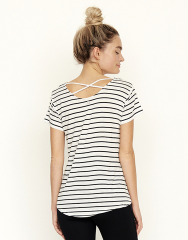 Cross back striped T