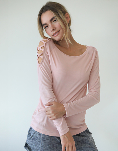 Cross shoulder L/S top