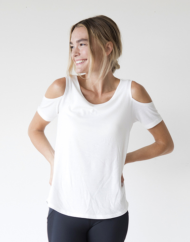 Cold shoulder cross back top