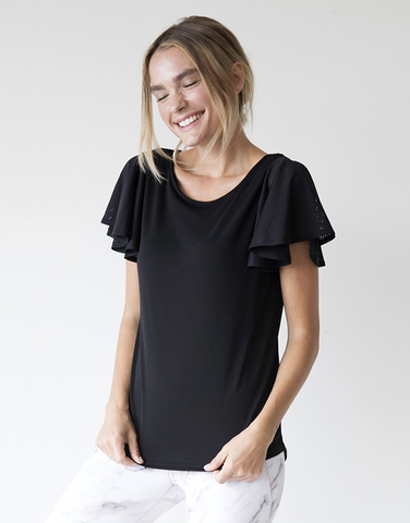 Mesh ruffle sleeve top