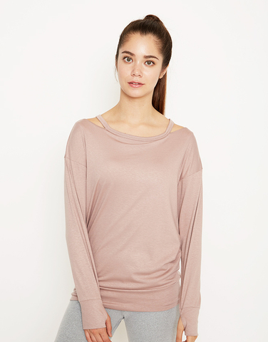Side neck open l/s top